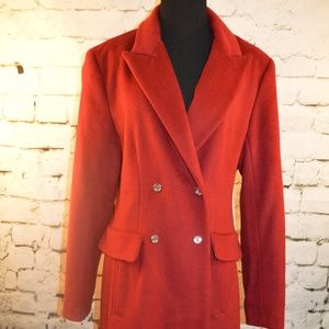Calvin Klein Burgundy Wool Blend Trench Coat 10